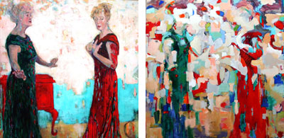 Woman Talking with Herself and abstract